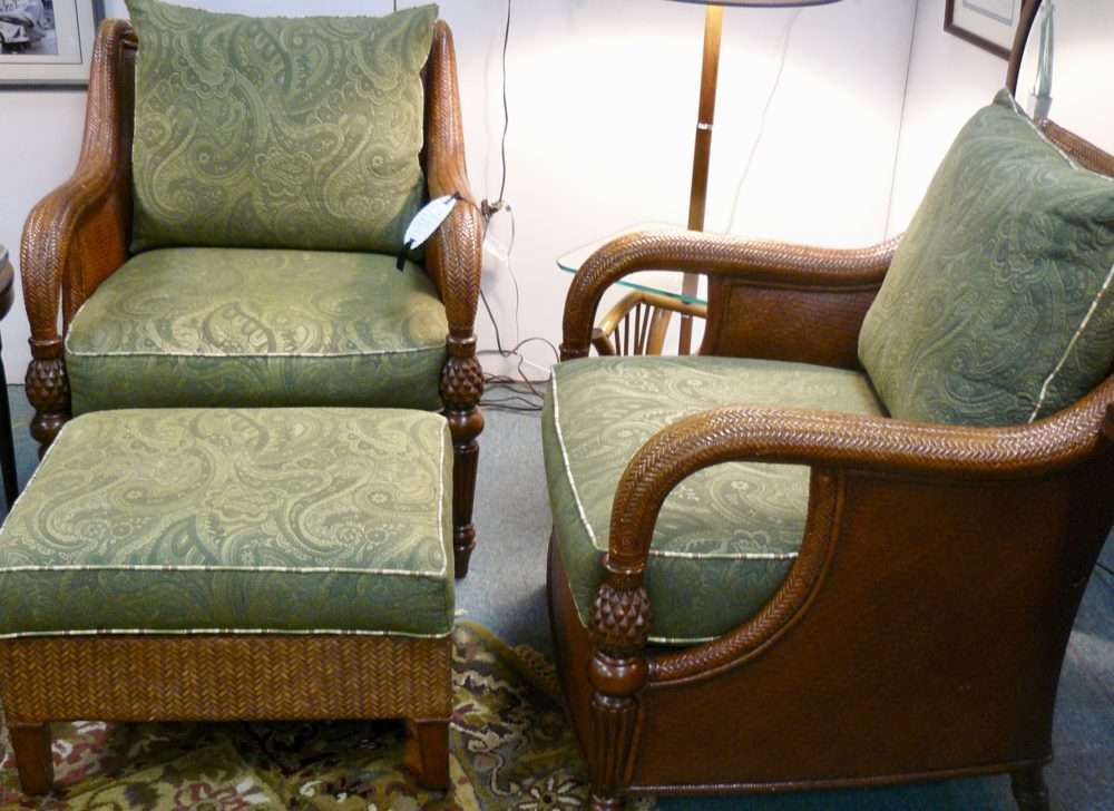 Wonderful Pair Ethan Allen Wicker Chairs And Ottoman Pinele Detail Set 875 00