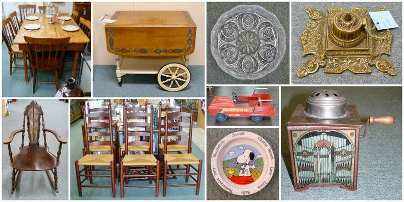 six clore chairs a huge peanuts collection and a peddle car