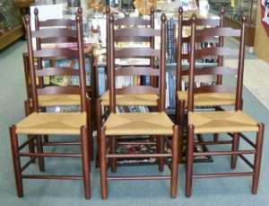 fabulous set of six e a clore ladderback chairs mint condition cherry but walnut stained 1150 00 15 off booth 33ha
