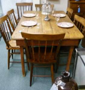 antique farm table eight chairs 795 00 booth 44